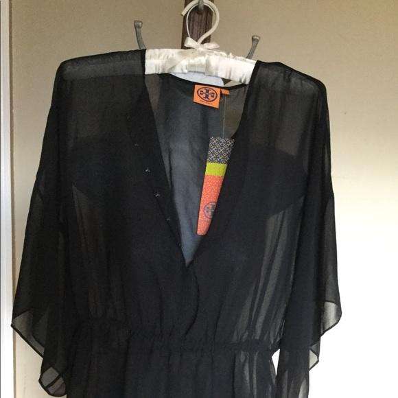 NWT TORY BURCH 4 Black Silk Batwing stretch waist